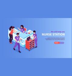 nurse station hospital banner vector image