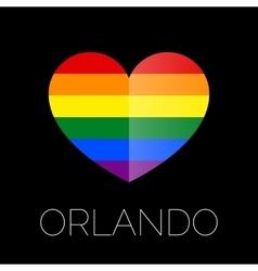 Orlando tragedy Gay colors heart shape on black vector image