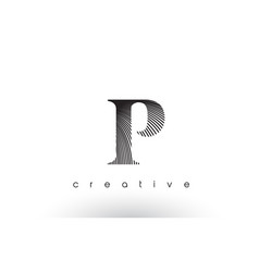 p logo design with multiple lines and black vector image