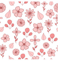 pattern with pastel pink doodle flowers and leaves vector image