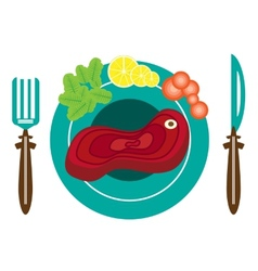 Picture of plate with meat vector image