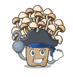 Pirate enoki mushroom character cartoon vector