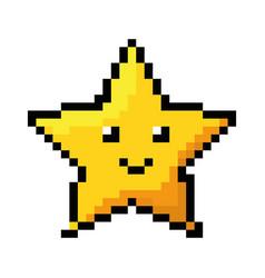 Pixelated star kawaii icon vector