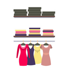 Racks with clothes packed in boxes dresses vector