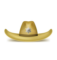 realistic 3d detailed brown sheriff hat vector image