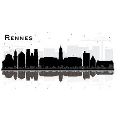 rennes france city skyline silhouette with black vector image