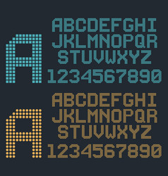retro pixel font rounded alphabet and numbers vector image