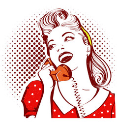 retro portrait of young woman talking on phone vector image