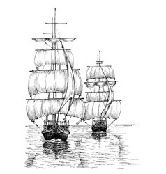 Sail boats on sea black and white sketch vector