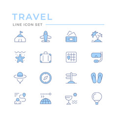 Set color line icons travel vector