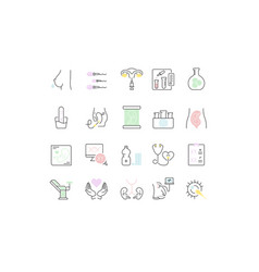 Set line icons test tube baby vector