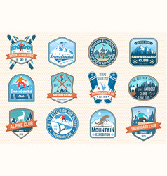 Set mountain expedition and snowboard club vector