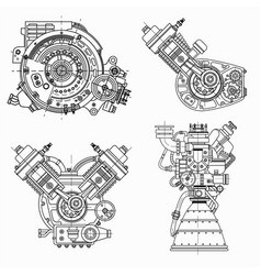 Set of drawings of engines - motor vehicle vector
