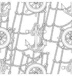 Ship equipment zentangle seamless pattern vector image
