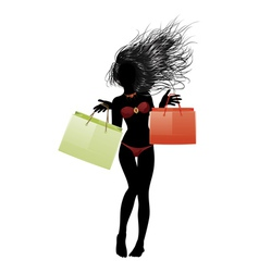 Shopping bikini girl silhouette vector image