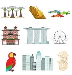 Singapore Touristic Symbols Set vector