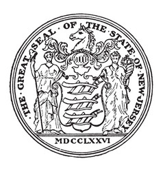 The great seal of the state of new jersey vintage vector