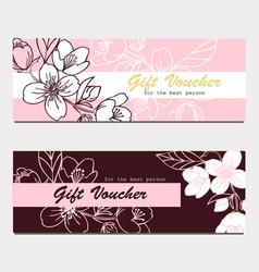 two elegant hand drawn jasmin flower cards vector image