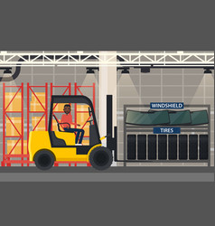 Tyres and windshield near forklift loader vector
