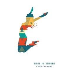 Vibrant ikat stripes jumping girl silhouette vector