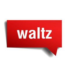 Waltz red 3d speech bubble vector
