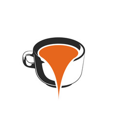 Water spilled from coffee cups logo template vector