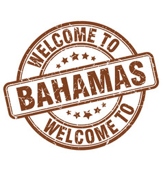 Welcome to bahamas brown round vintage stamp vector