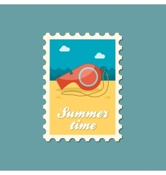 Whistle flat stamp summertime vector image