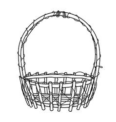 Wicker Basket outline vector