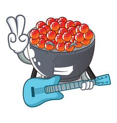 With guitar salmon roe character ready to eat vector