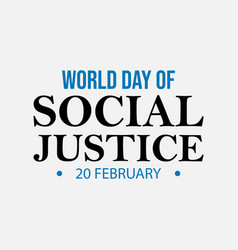 world justice day typography lettering logo vector image