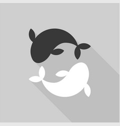 Yin yang carp fish flat design with long shadow vector