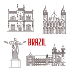 Architecture travel landmarks of Brazil vector image vector image