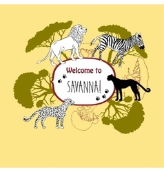Background with savanna animals-03 vector image vector image