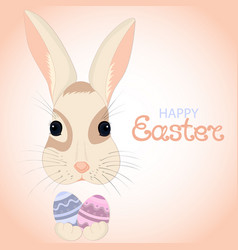 easter bunny keeps paschal eggs in rabbits paws vector image
