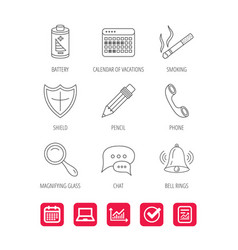 Chat speech bubbles bell and pencil icons vector