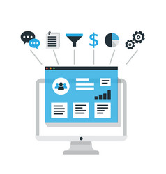crm concept design with elements flat vector image vector image
