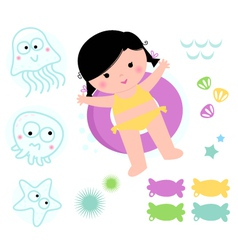 Cute summer girl with sea elements vector image vector image