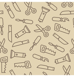 Linear swiss knife tools on brown back seamless vector image vector image