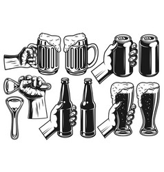set of beer object vector image