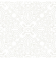 Silver vintage wallpaper with swirls and hearts vector image vector image