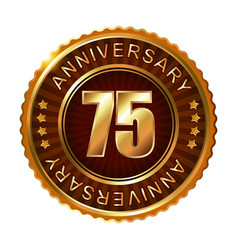 75 years anniversary golden brown label vector image vector image