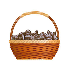 basket with ginger cakes into white background vector image vector image