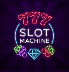 casino vegas poster with slot machine vector image vector image