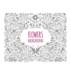 Floral monochrome background Hand drawing Linear vector image