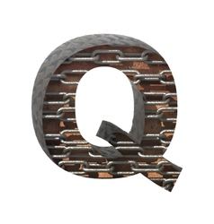 Metal cutted figure q paste to any background vector