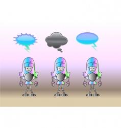 robot girls vector image vector image