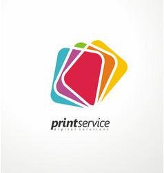 creative logo design idea for printing shop vector image vector image