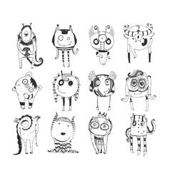 Cute monochrome collection with hand drawn doodle vector image vector image
