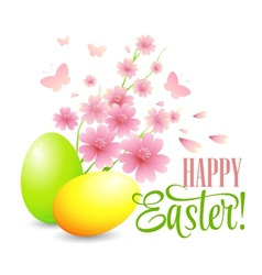 Easter card with eggs and flowers vector image vector image